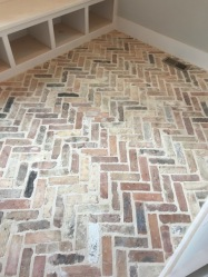 This Mud Room Floor in the herringbone pattern I am so obsessed with - could it be anymore beautiful?